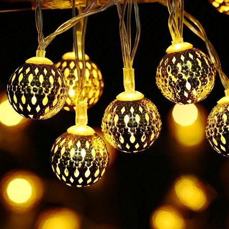 Battery Powered Moroccan Ball 30 LED Indoor Lantern String Lights Decorative Christmas Light (Warm White) Image 1 of 7