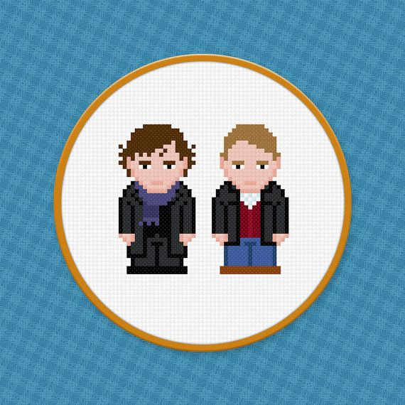 BBC Sherlock TV Show Characters - Digital PDF Cross Stitch Pattern    This is a digital PDF file of a cross stitch pattern. You will need to