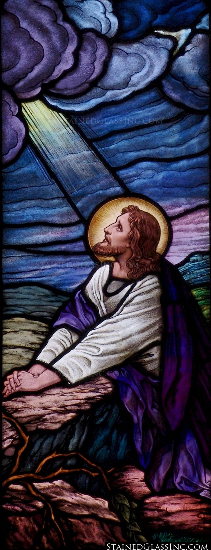 """The Lord Jesus Kneeling in Prayer"" Religious Stained Glass Window"