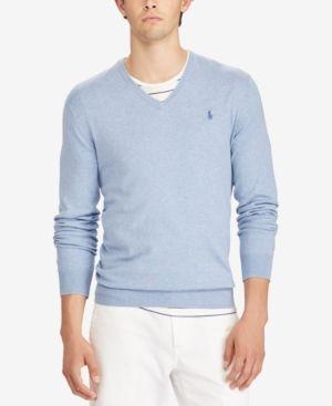 Polo Ralph Lauren Men's V-Neck Sweater - New Age Blue Heather XXL