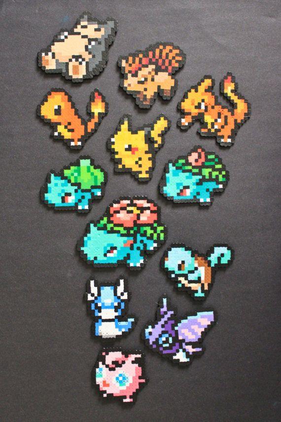 Pokemon Perler Bead Pixel Art Magnets por kelseyrushing en Etsy