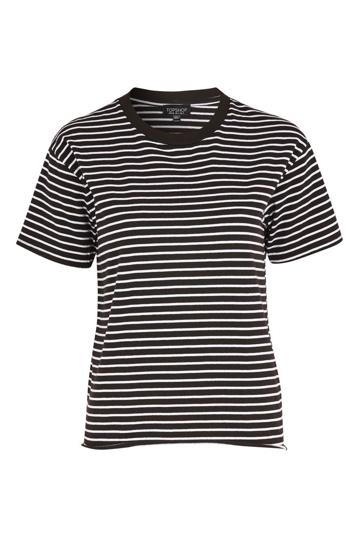 Stripe Nibbled T-Shirt - Tops - Clothing - Topshop