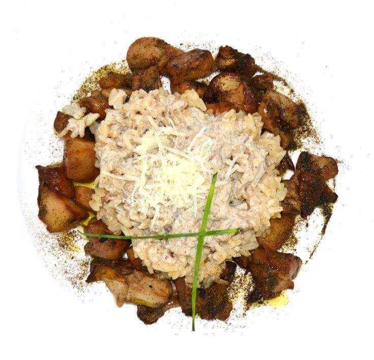 Risoto de Boletus con Vineterra. Platos vegetarianos y con Vinesenti en Restaurante Espadaña. www.restauranteespadana.es