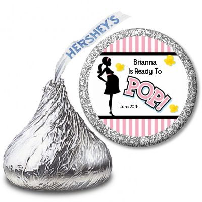 Ready To Pop Pink - Hershey Kiss Baby Shower Sticker Labels -- available from www.CandlesandFavors.com