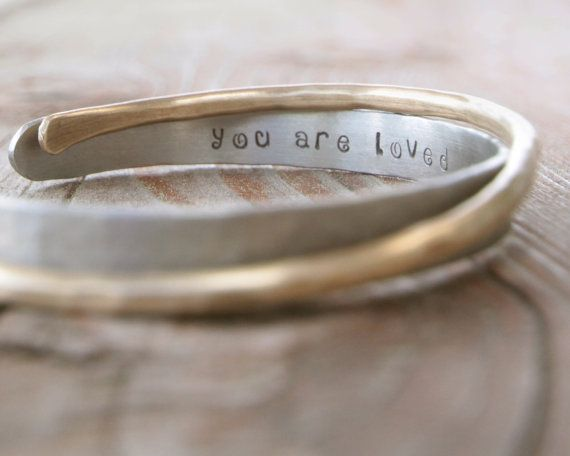 Mother's Day - Gift for Her - Personalized Bracelet Silver and Gold You Are Loved Cuffs Hammered Inspirational Gift for Her on Etsy, 398:38 kr