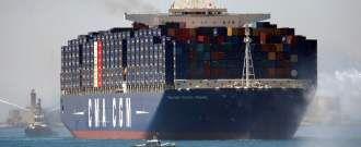 Le «Jules Vernes», plus grand porte-conteneur au monde, a été inauguré par le président français François Hollande, le 3 juin 2013.