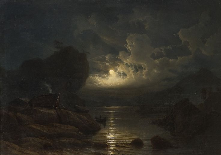 Coastal Landscape with crowds of Moonlight, 1852, Knud Andreassen Baade. Norwegian (1808 - 1879)