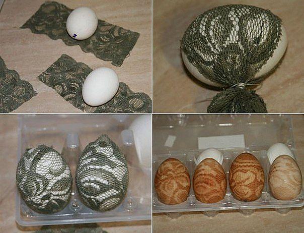 Понадобится: ажурная ткань, яйца, луковая шелуха, разноцветная пищевая краска и желание потратить полчаса времени