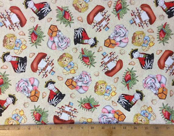 Bazooples pirate shipmates cotton fabric by by for Little boy fabric