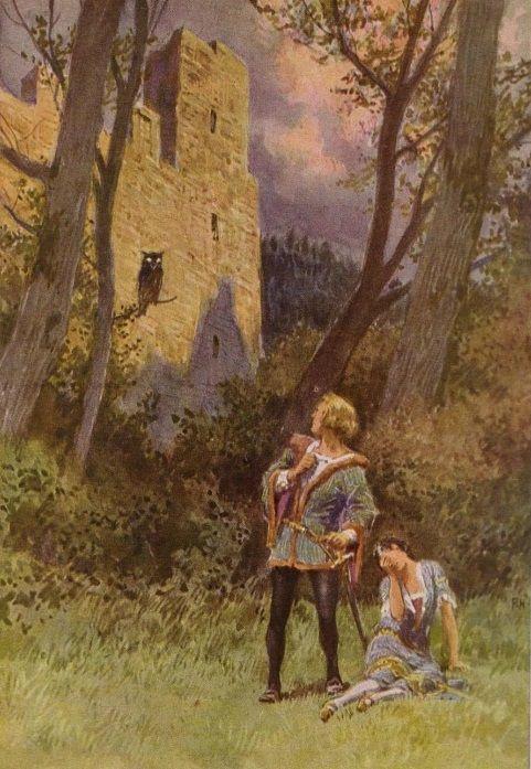 """""""Jorinde und Joringel"""" - Illustration zu Grimms Märchen, von Professor Paul Hey, Maler, Grafiker und Illustrator (19.10.1867 in München - 14.10.1952 Gauting)"""