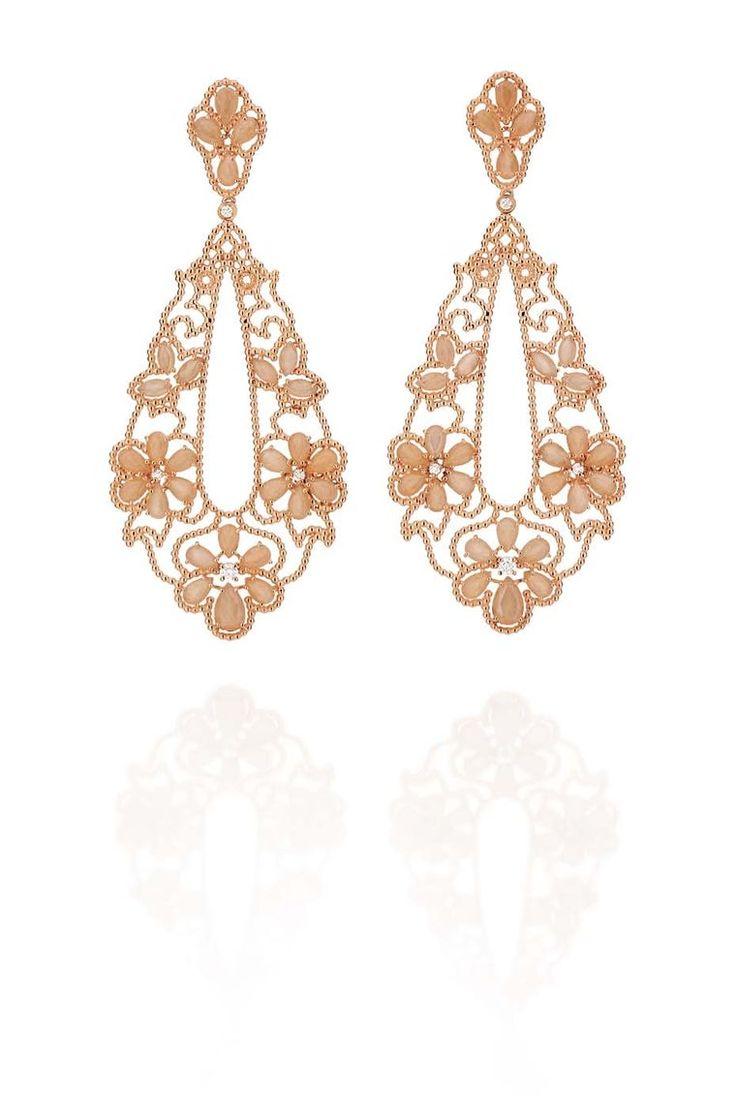 Carla Amorim rose gold Ibirapuera earrings with peach moonstone and white diamonds.
