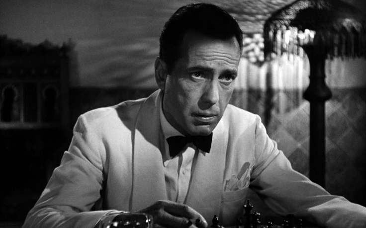 Humphrey Bogart in Casablanca, playing chess. Bogart was an avid chess player in real life, reaching a level just below chess master.