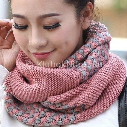 Весенний шарф-снуд   Вязание для женщин   Вязание спицами и крючком. Схемы вязания.