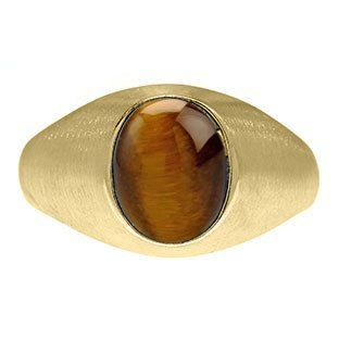 Oval-Cut Tiger Eye Stone Custom Men's Pinky Ring In Yellow Gold Gemologica.com offers a unique and simple selection of handmade fashion and fine jewelry for men, woman and children to make a statement. We offer earrings, bracelets, necklaces, pendants, ri