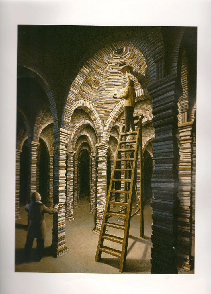 Library © Rob GONSALVES (Artist. Canada). Magic Realism. Prints at link. Art books available at most booksellers.