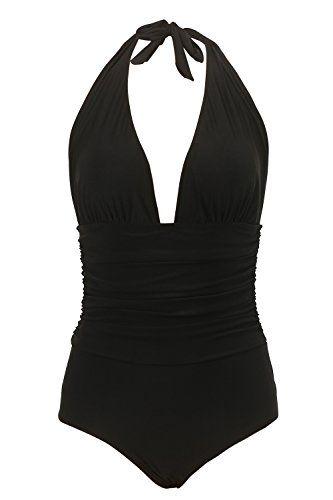 fc9e2207ae Honlyps One Piece Swimsuit High Waisted Bathing Suit for Women Swimwear  Polyamide V-Neck Monokini