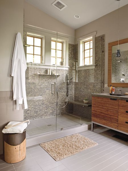 pics of master bathrooms | Spa-like Gray and Brown Master Bathroom - MyHomeIdeas.com