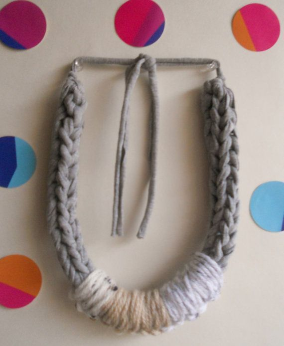 Grey+ideas+for+crochet | AMALIA - chunky crocheted necklace in grey T shirt yarn and beige-grey ...