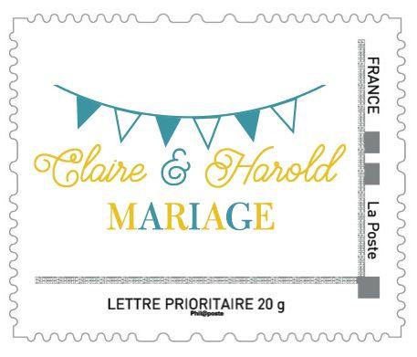 TIMBRE PERSONNALISE FANIONS MARIAGE PAR LA PAPETERIE DE PARIS