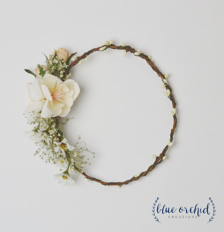 Flower Crown - Cream, Ivory, Baby's Breath Flower Crown, White Flower Crown, Wedding Crown, Boho, Boho Wedding, Silk Flower Crown, Floral by blueorchidcreations on Etsy