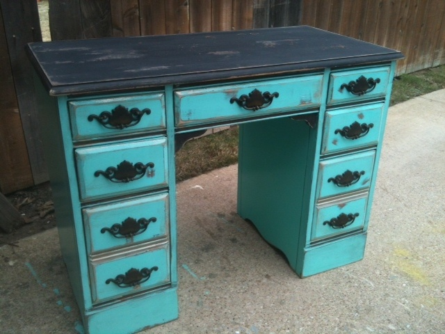 antique desk in turquoise and black