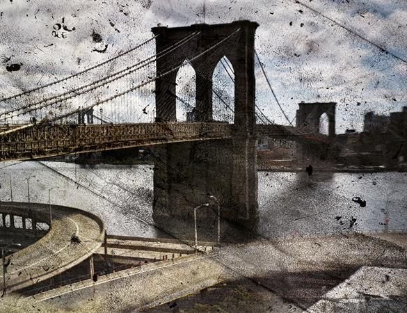 Via Aperture Foundation   Abelardo Morell, Tent Camera Image On Ground:  Rooftop View Of The Brooklyn Bridge, 2010 © Abelardo Morell, Boston /  Courtesy ...