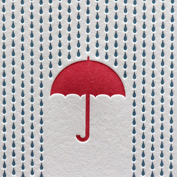 Rain Letterpress Card Blue Red Umbrella Shower by letterpress