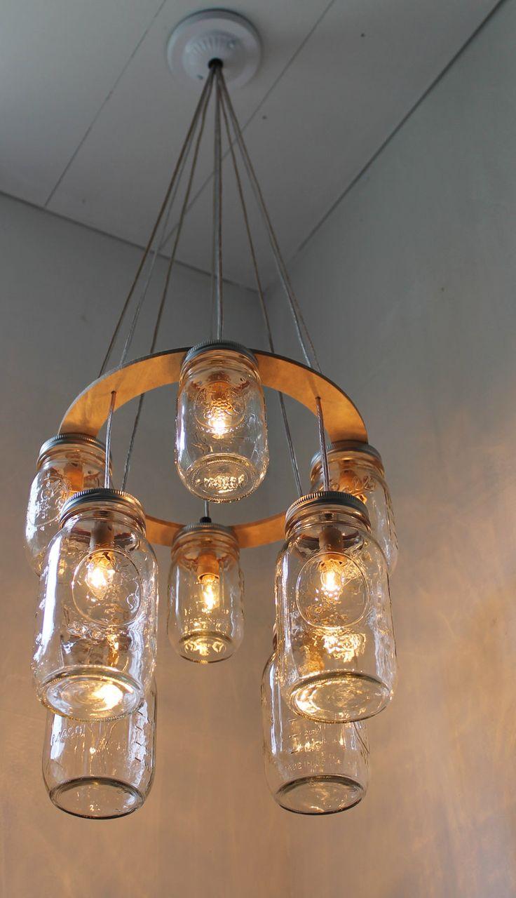 Double Decker MASON JAR Chandelier - Upcycled Hanging Mason Jar Lighting Fixture Direct Hardwire - BootsNGus Lamps Rustic Home Decor. $210.00, via Etsy.