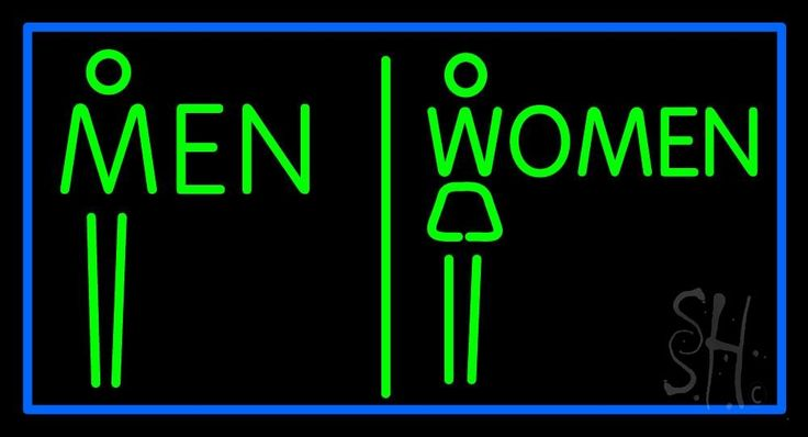 Men and women restroom neon sign 20 tall x 37 wide x 3 deep is 100 handcrafted with real glass Men women bathroom signs