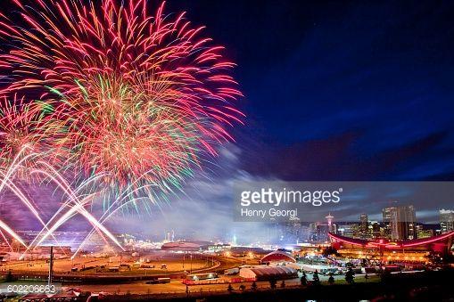 Stock Photo : Fireworks at 2015 Calgary Stampede, Calgary, Alberta, Canada.