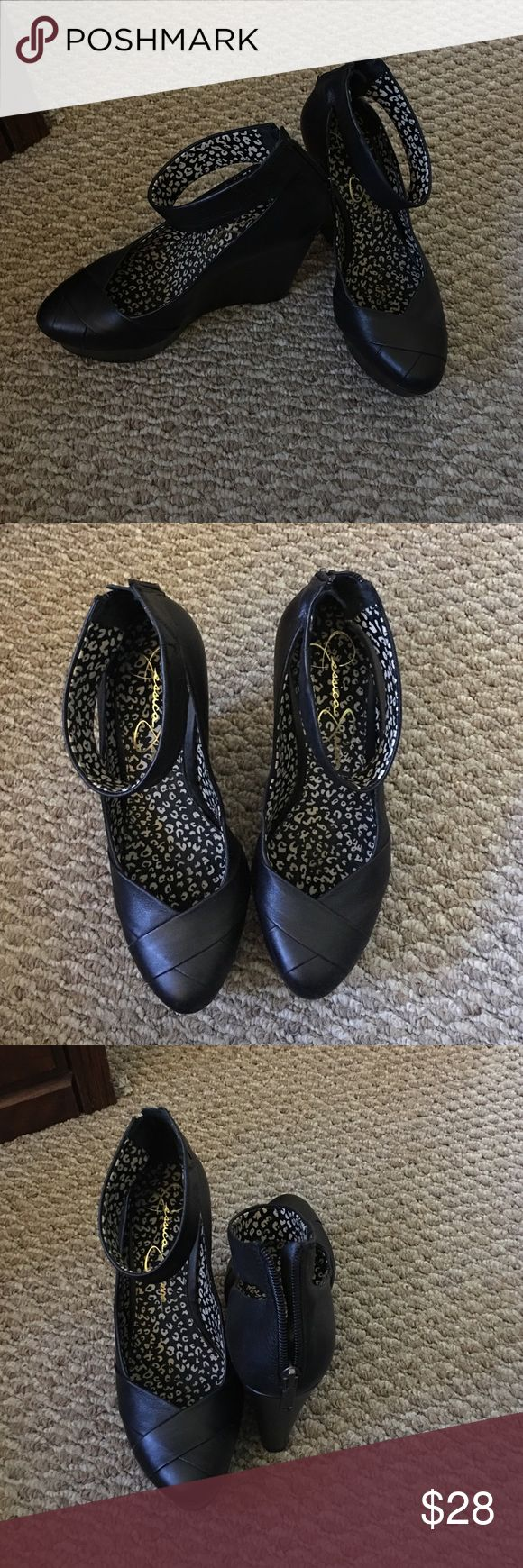 Jessica Simpson sz 7 wedges Excellent like new wedges by Jessica Simpson. Cute ankle strap and back zip up. Size 7. I just can't wear this heel height anymore 😫 Jessica Simpson Shoes Wedges