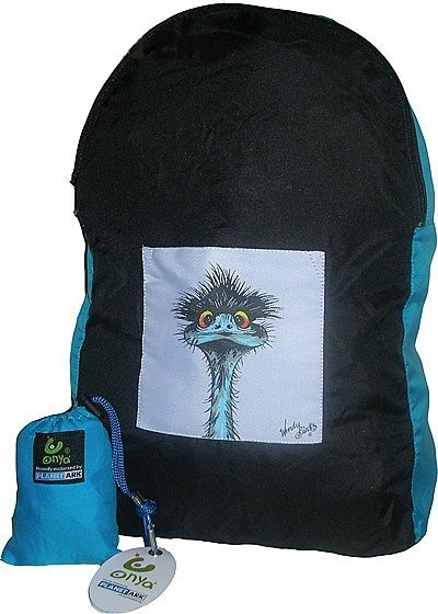 Stunned Emu design stuff-away backpack. Made with recycled plastic. Stuffs into small pouch, great to take on holiday/travelling. $24.95 http://www.greengiftsaustralia.com.au/shop/index.php?main_page=product_info&cPath=8&products_id=198