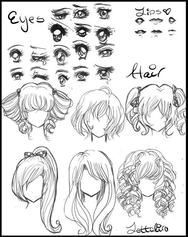 anime drawings | Manga/Anime Eyes and Hair by Lettelira on deviantART