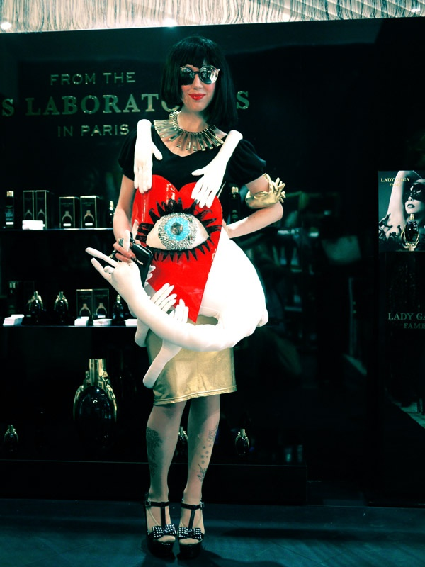 """Misha Janette rocking a gian eyeball dress for opening of Lady Gaga """"FAME"""" perfume shop in Tokyo"""