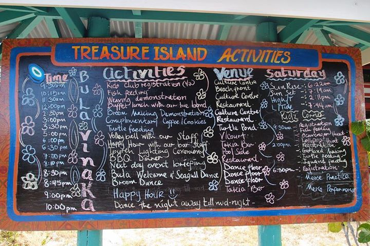 Daily Activity Board at Treasure Island