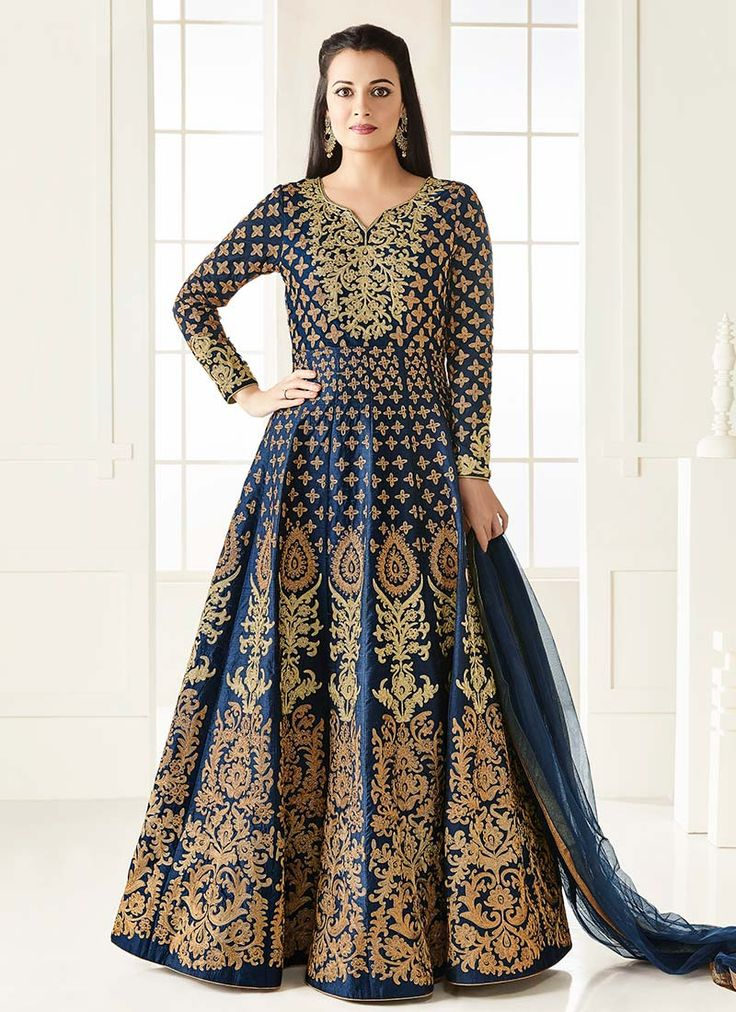 Buy Dia Mirza Blue Art Silk Anarkali Suit online, SKU Code: SLSCC4003R. This Blue color Party anarkali suit for Women comes with Zari Art Silk. Shop Now!
