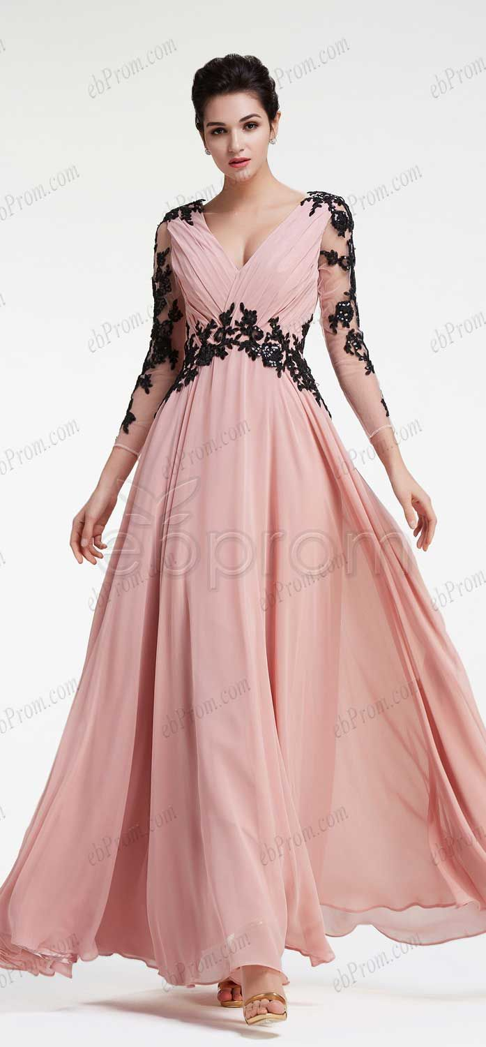 Dusty pink evening dresses long sleeves prom dresses plus size formal dresses V Neck bridesmaid dresses modest maid of honor dresses