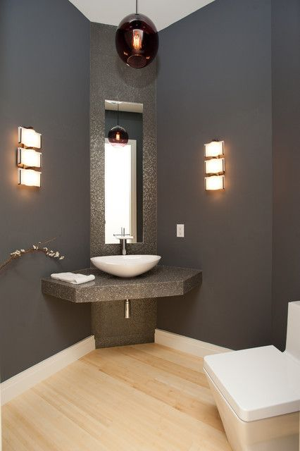 Contemporary Dark Grey Painted Bathroom Involving Corner Bathroom Vanity Sustained By Floating Counter