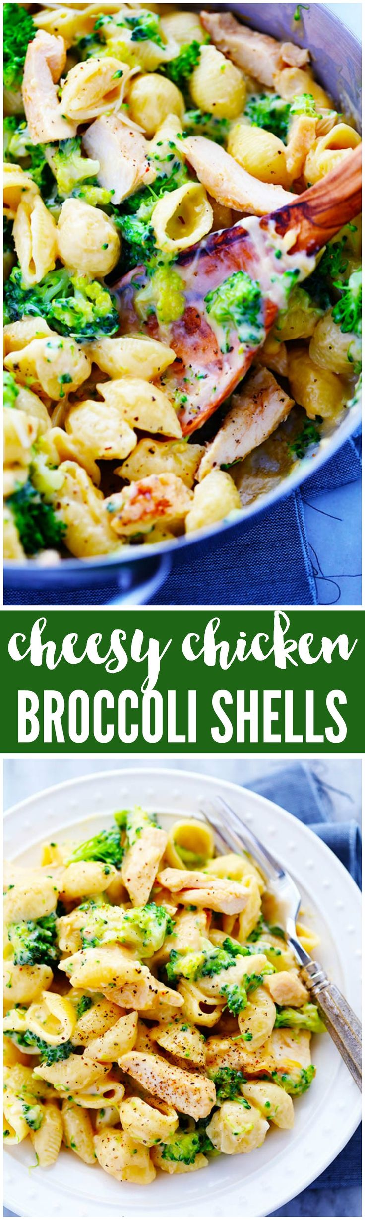 Ditch the boxed mac and cheese and make these amazingly creamy and cheesy chicken broccoli shells. This meal is sure to be a huge hit with the family!