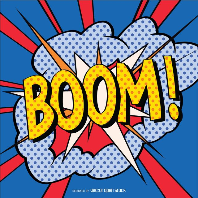 Colorful Boom Sign In Pop Art Style With Strong Lines And