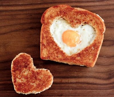 Valentine's Day breakfast: heart-shaped eggs in a basket