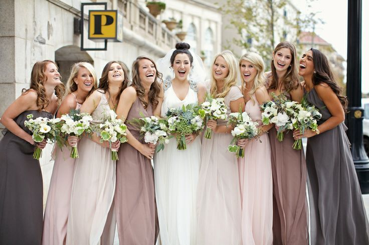 Not a huge fan of the 4 different color bridesmaids dresses (although it is a neat idea), but I LOVE all of the different styles of bridesmaids dresses!  | followpics.co