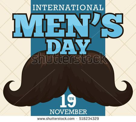 Postcard with dark mustache over a beige background and blue ribbon with greeting message for International Men's Day.
