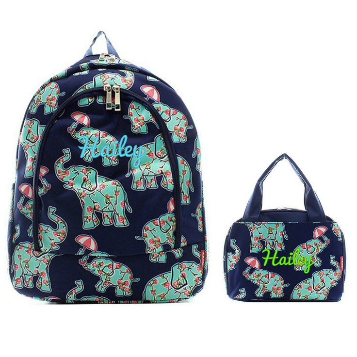 Matching Elephant Floral Navy Personalized Kids Backpack & Lunch Bag Set