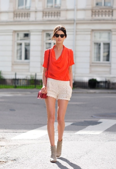 Orange!: Blouses, Orange, Fashion, Summer Outfit, Summer Style, Colors, Crochet Shorts, White Lace, Lace Shorts