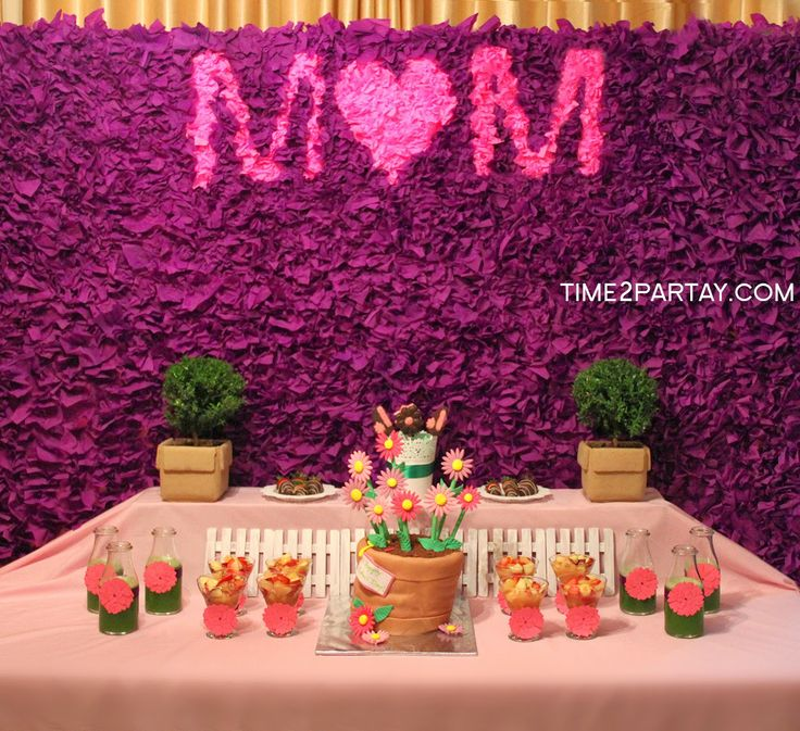 Time2Partay.blogspot.com: A Spring Themed Mother's Day Dessert Table #mother #mothers #mom #dessert #party #purple #pink #green #floral #flower #flowers #cake #sweets #homemade #plants #pots #background