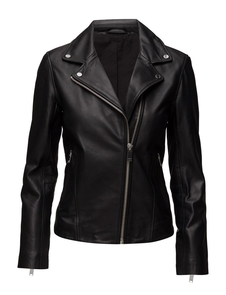 DAY - 2ND Ellen Asymmetric front zip closure Biker style Inner lining Made from high quality leather that becomes more beautiful with wear. Classic Leather Leather Jacket Black