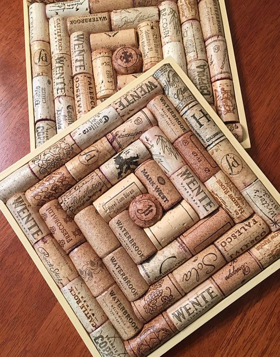 Recycled wine cork trivets set of 2 wine cork trivet for Crafts to make with wine corks