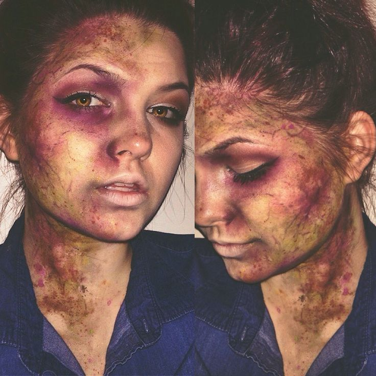 Creative makeup which is a stereotypical aspect of the horror genre. This shows the  lesser a theme of violence but a theme of infection. No use of blood but these effects are just as good. This is a simplistic but effective makeup look.