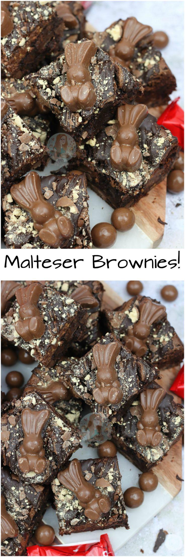 Malteser Brownies!! Fudgey, Chocolatey, Gooey Malt Chocolate Brownies with Malteser Spread, Maltesers and Malteser Bunnies! Perfect Malteser Brownies.